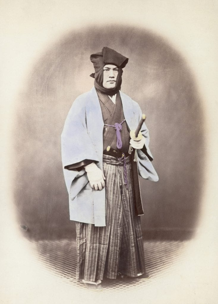 circa 1867: A Japanese soldier armed with a sword. (Photo by Felice Beato/Henry Guttmann/Getty Images)