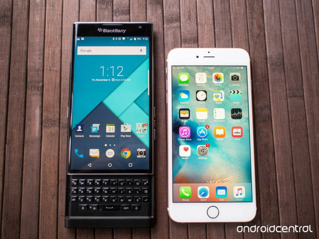 BlackBerry Priv versus iPhone 6s Plus: they couldn't be more …