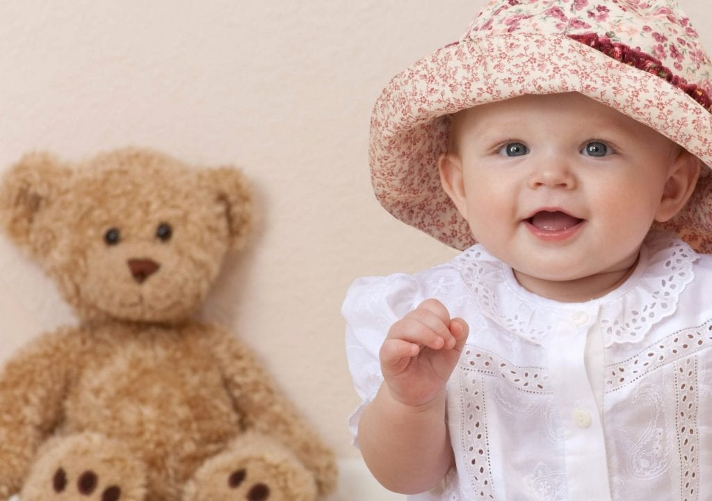 beautiful little girl smile hat teddy bear happy child children …