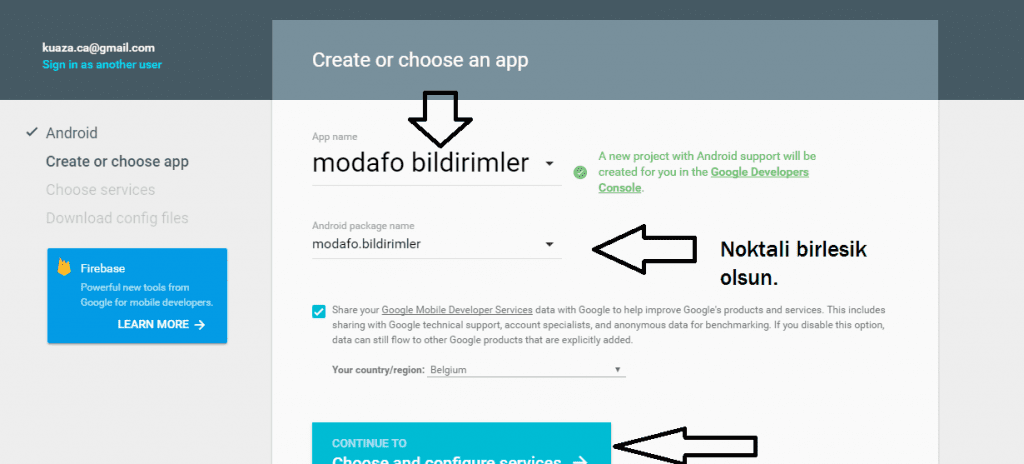 google developer app olusturma