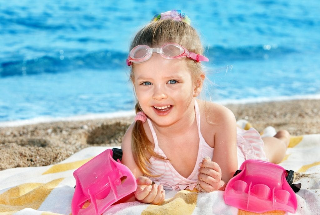 happy little swimmer girl child children happiness cute beautiful …